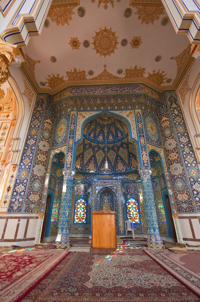 Interior of Sunni Shafeiha mosque in Kermanshah, Iran